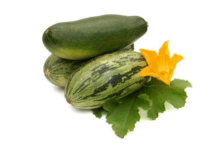 Fresh vegetable marrow with leaf and flower on a white background photo