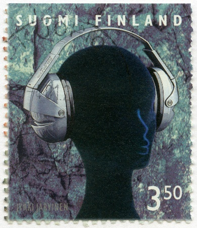 FINLAND - CIRCA 1999: A stamp printed in Finland shows Ergo IISilenta hearing protectors, series Finnish Commercial Product Design, circa 1999