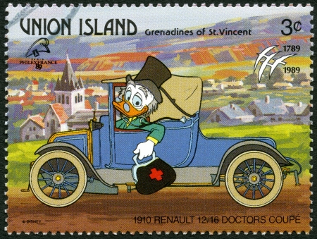ST. VINCENT GRENADINES - UNION ISLAND - CIRCA 1989: A stamp printed in St. Vincent Grenadines shows Ludwig von Drake, 1910 Renault, series Disney characters in various French vehicles, circa 1989