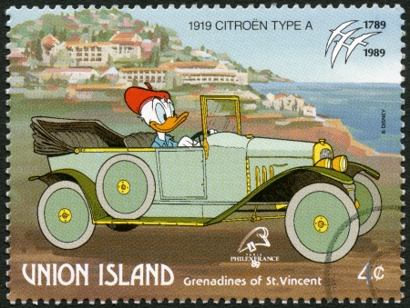 donald: ST. VINCENT GRENADINES - UNION ISLAND - CIRCA 1989: A stamp printed in St. Vincent Grenadines shows Donald Duck, 1919 Citroen, series Disney characters in various French vehicles, circa 1989 Editorial