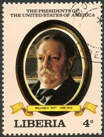 united states postal service: LIBERIA - CIRCA 1982: A stamp printed in Liberia shows President William H. Taft (1909-1913), series the Presidents of the USA, circa 1982