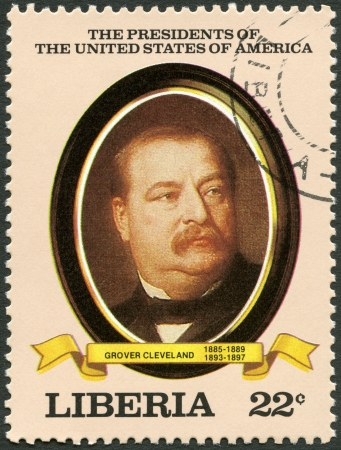 united states postal service: LIBERIA - CIRCA 1982: A stamp printed in Liberia shows President Grover Cleveland (1885-1889, 1893-1897), series the Presidents of the USA, circa 1982 Editorial