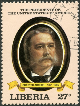 united states postal service: LIBERIA - CIRCA 1982: A stamp printed in Liberia shows President Chester Arthur (1881-1885), series the Presidents of the USA, circa 1982