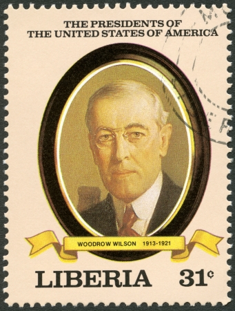 wilson: LIBERIA - CIRCA 1982: A stamp printed in Liberia shows President Woodrow Wilson (1913-1921), series the Presidents of the USA, circa 1982