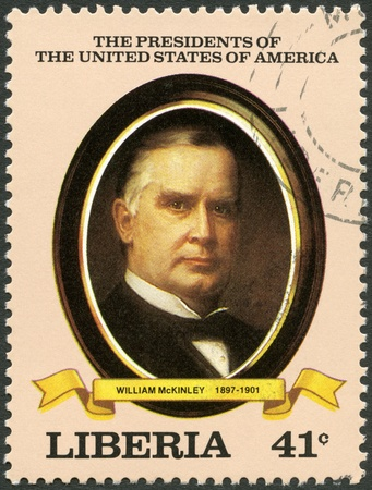 united states postal service: LIBERIA - CIRCA 1982: A stamp printed in Liberia shows President William McKinley (1897-1901), series the Presidents of the USA, circa 1982 Editorial