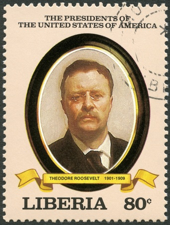 united states postal service: LIBERIA - CIRCA 1982: A stamp printed in Liberia shows President Theodore Roosevelt (1901-1909), series the Presidents of the USA, circa 1982