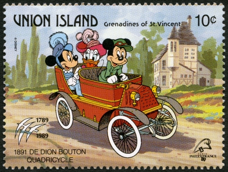 ST. VINCENT GRENADINES - UNION ISLAND - CIRCA 1989: A stamp printed in St. Vincent Grenadines shows Mickey Mouse, Minnie Mouse, and Daisy Duck, 1891 De Dion Bouton Quadricycle, series Disney characters in various French vehicles, circa 1989