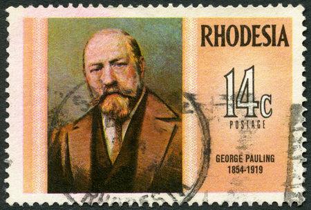 rhodesians: RHODESIA - CIRCA 1974: A stamp in Rhodesia shows George Pauling (1854-1919), engineer, series Famous Rhodesians, circa 1974