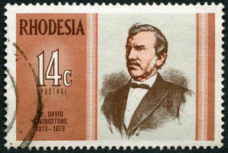 rhodesians: RHODESIA - CIRCA 1973: A stamp in Rhodesia shows Dr. David Livingstone (1813-1873), explorer, series Famous Rhodesians, circa 1973