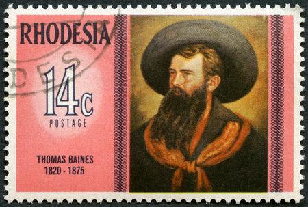 rhodesians: RHODESIA - CIRCA 1975: A stamp in Rhodesia shows Thomas Baines (1820-1875), self-portrait, series Famous Rhodesians, circa 1975