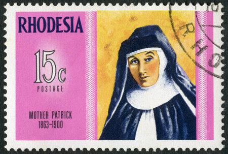 rhodesians: RHODESIA - CIRCA 1970: A stamp in Rhodesia shows Mother Patrick (1863-1900), Dominican nurse and teacher, series Famous Rhodesians, circa 1970
