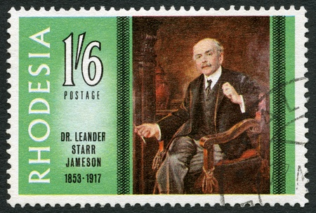 rhodesians: RHODESIA - CIRCA 1967: A stamp in Rhodesia shows Dr. Leander Starr Jameson (1853-1917), pioneer and Prime Minister of Cape Colony, by Frank Moss Bennett, series Famous Rhodesians, circa 1967