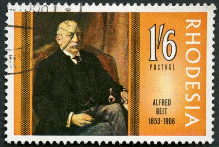rhodesians: RHODESIA - CIRCA 1968: A stamp in Rhodesia shows Alfred Beit (1853-1906), philanthropist and friend of Cecil Rhodes, series Famous Rhodesians, circa 1968