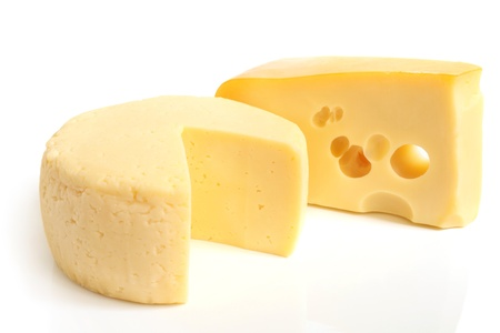 sliced cheese: Cheese on a white background