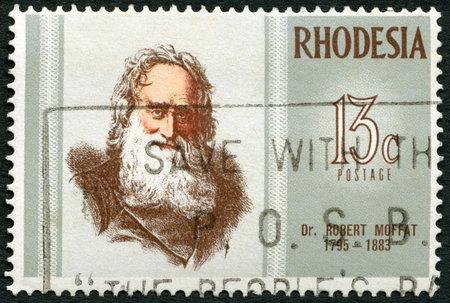 rhodesians: RHODESIA - CIRCA 1972: A stamp in Rhodesia shows Dr. Robert Moffat (1795-1883), missionary, series Famous Rhodesians, circa 1972 Editorial