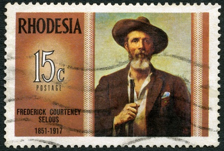 conservationist: RHODESIA - CIRCA 1971: A stamp in Rhodesia shows Frederick Courteney Selous (1851-1917), explorer, big game hunter, series Famous Rhodesians, circa 1971