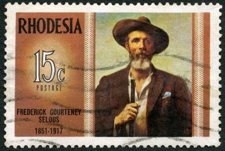 rhodesians: RHODESIA - CIRCA 1971: A stamp in Rhodesia shows Frederick Courteney Selous (1851-1917), explorer, big game hunter, series Famous Rhodesians, circa 1971