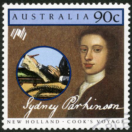 quaker: AUSTRALIA - CIRCA 1986: A stamp printed in Australia shows Sydney Parkinson (1745-1775), artist, series Cooks New Holland Expedition, circa 1986