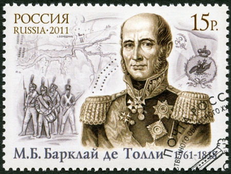 minister of war: RUSSIA - CIRCA 2011: A stamp printed in Russia shows The 250th anniversary of birth of Michael Andreas Barclay de Tolly (1761-1818), field-marshal-general, circa 2011