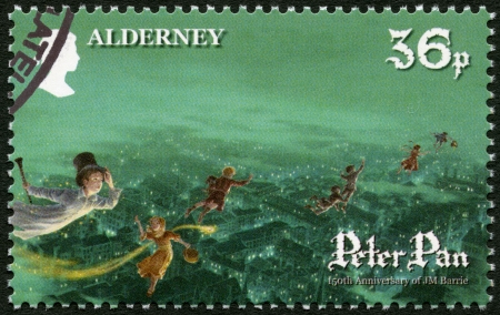 ALDERNEY - CIRCA 2010: A stamp printed in Alderney shows Scene from Peter Pan, by David Wyatt, 150th anniversary of the birth of JM Barrie, circa 2010 Stock Photo - 18369269