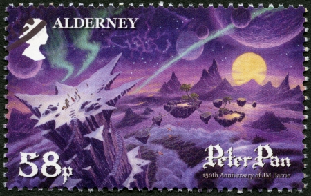 barrie: ALDERNEY - CIRCA 2010: A stamp printed in Alderney shows Scene from Peter Pan, by David Wyatt, 150th anniversary of the birth of JM Barrie, circa 2010