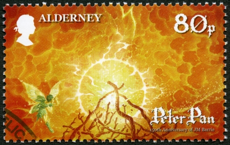 tinker bell: ALDERNEY - CIRCA 2010: A stamp printed in Alderney shows Scene from Peter Pan, by David Wyatt, 150th anniversary of the birth of JM Barrie, circa 2010