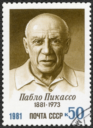 printmaker: USSR - CIRCA 1981: A stamp printed in USSR shows  Birth Centenary of Pablo Picasso (1881-1973), artist, circa 1981