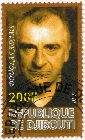 DJIBOUTI - CIRCA 2010: A stamp printed in Republic of Djibouti shows Douglas Adams (1952-2001), circa 2010