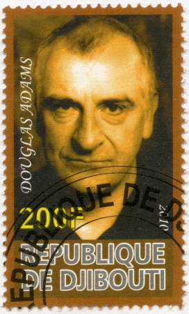postal card: DJIBOUTI - CIRCA 2010: A stamp printed in Republic of Djibouti shows Douglas Adams (1952-2001), circa 2010