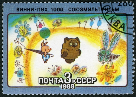 USSR - CIRCA 1988: A stamp printed in USSR shows Winnie-the-Pooh, 1969, series Animated Soviet Cartoons, circa 1988
