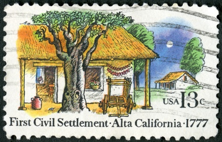 USA - CIRCA 1977: A stamp printed in USA shows Farm Houses, El Pueblo de San Jose de Guadalupe, 1st civil settlement in Alta California, 200th anniversary, circa 1977
