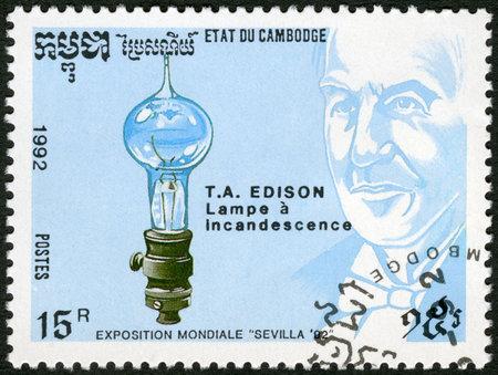 thomas: CAMBODIA - CIRCA 1992: A stamp printed in Cambodia shows Thomas Edison (1847-1931), electric light bulb, devoted EXPO-92 in Seville, circa 1992 Editorial
