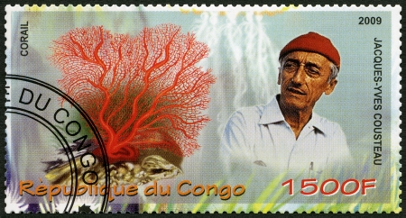 conservationist: CONGO - CIRCA 2009: A stamp printed in Congo shows coral and Jacques Cousteau (1910-1997), circa 2009
