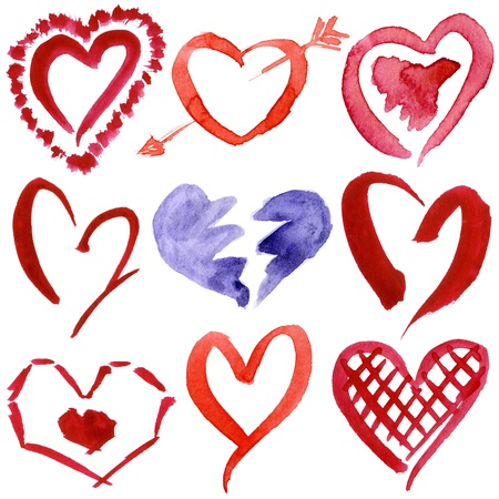 Abstract hand drawn watercolor hearts set isolated on a white background Stock Photo - 18630186