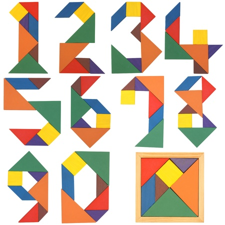 mathematical: Numbers set, tangram. Isolated on a white background.