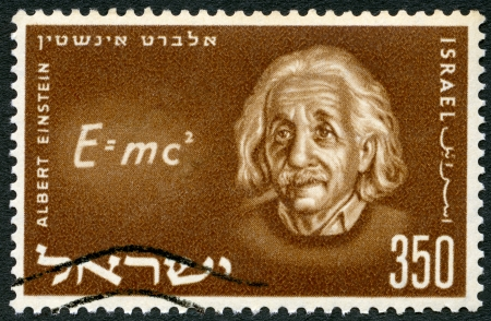 albert: ISRAEL - CIRCA 1956: A stamp printed in Israel shows Albert Einstein (1879-1955) and Equation of his Relativity Theory, circa 1956