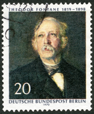 theodor: GERMANY - CIRCA 1970: A stamp printed in Germany shows Theodor Fontane (1819-1898), poet and writer, painting by Hanns Fechner, 150th anniversary of the birth, circa 1970