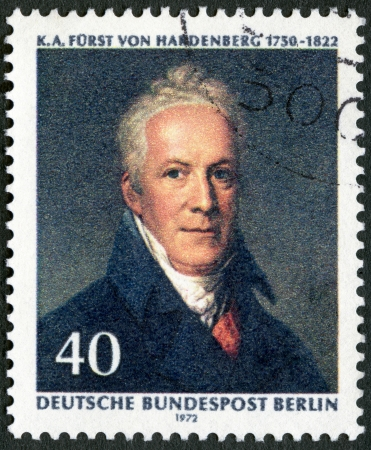 statesman: GERMANY - CIRCA 1972: A stamp printed in Germany shows Karl August von Hardenberg (1750-1822), Prussian statesman, painting by J.H.W. Tischbein, circa 1972 Editorial