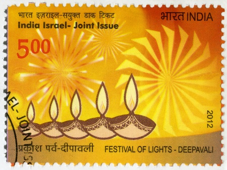 INDIA - CIRCA 2012: A stamp printed in India shows Festival of Lights, Deepavali, India Israel - Joint Issue, circa 2012