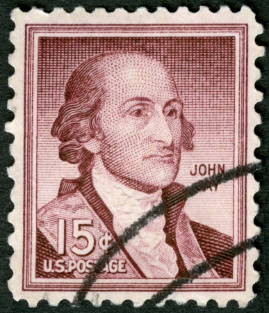 jay: USA - CIRCA 1958: A stamp printed in USA shows Portrait John Jay (1745-1829), circa 1958 Editorial