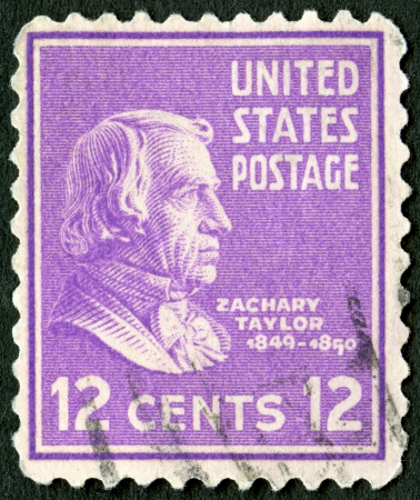 taylor: USA - CIRCA 1938: A stamp printed in USA shows portrait of Zachary Taylor (1784-1850), circa 1938 Editorial