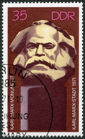 marx: GERMANY - CIRCA 1971: A stamp printed in Germany shows Karl Marx Monument, Unveiling of Karl Marx memorial at Karl-Marx-Stadt (Chemnitz), circa 1971
