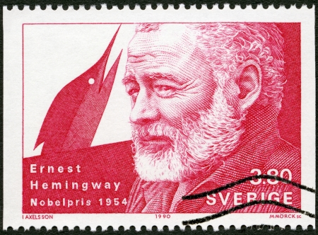 laureate: SWEDEN - CIRCA 1990: A stamp printed in the Sweden shows Ernest Hemingway, Nobel Laureate in Literature, 1954, circa 1990