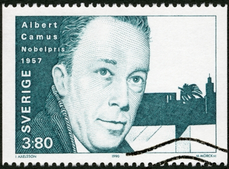 albert: SWEDEN - CIRCA 1990: A stamp printed in the Sweden shows Albert Camus, Nobel Laureate in Literature, 1957, circa 1990