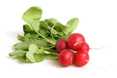 Fresh radishes on a white background Stock Photo