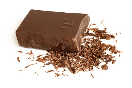 Dark chocolate on a white background photo