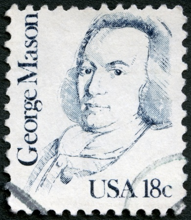 USA - CIRCA 1981: A stamp printed in USA shows portrait of George Mason (1725-1792), circa 1981