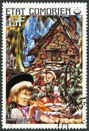 comores: COMORES - CIRCA 1976: A stamp printed in Comores shows Hansel and Gretel, series Fairy Tales, circa 1976