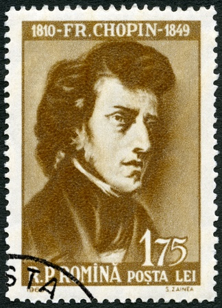 frederic: ROMANIA - CIRCA 1960: A stamp printed in Romania shows Frederic Chopin (1810-1849), circa 1960 Editorial