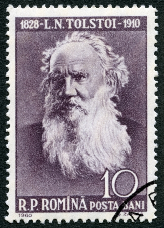 rumania: ROMANIA - CIRCA 1960: A stamp printed in Romania shows Lev Nikolayevich Tolstoy (1828-1910), circa 1960 Editorial